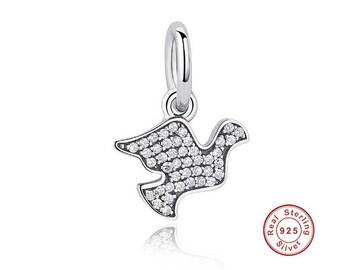 DOVE Pave Clear CZ Dangle Charm, FitA European Snake Chain Charm Pandora Bracelet, DiY Jewelry