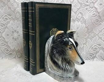 Vintage Border Collie Bookend, 1960's, Mid Century, Australian Shepard, Dog Gift Lovers, Ceramic, Brown & Black, Figurine