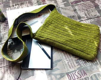 Green Handmade Shoulder Knitted Bag, Mother's Day Gift, Father's Day Gift