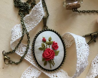 Handmade embroidered necklace, Floral necklace, Rose necklace, Valentine's Day gift
