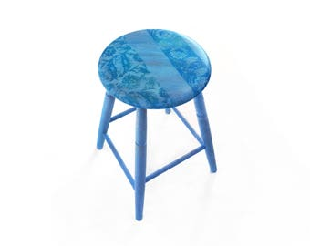Vintage Shabby Chic Wooden Stool with Persian Pattern