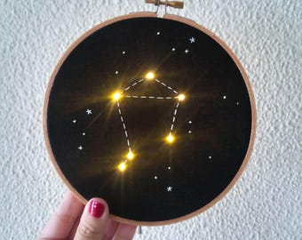 Pre order Libra Zodiac Star Constellation Embroider Hoop Art with LED