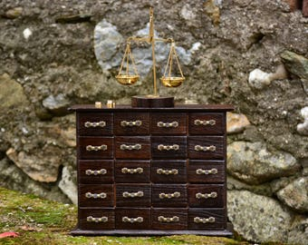 Wooden Apothecary Cabinet,Wood Apothecary Chest,Brown Apothecary Box,Scale of Justice,Brass Scale,Decorative Apothecary Chest,Lawyer Gift