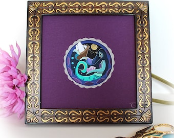 Framed Mermaid in the Sea // Paper Cut Art - Paper Cutting Art - Cut Paper Art- Papercut Art - Paper Artwork