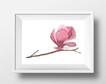 "Watercolor Magnolia Flower PRINTABLE Art | Simple Pink Minimal Decor Printable 11x14"" 8x10"" | Modern Floral Poster"