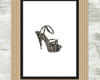 Lace Stiletto Print, Lace, Stiletto, Lacey, Foot, Heel