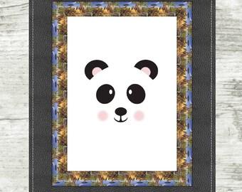 Panda Face Print, panda, child, nursery, face