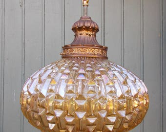 Vintage Amber Glass Hanging Light Pendant Lamp Mid-Century