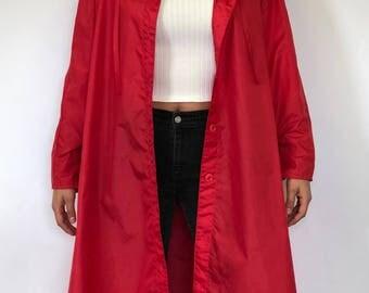 Vintage Red Raincoat / Windbreaker Long