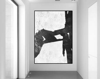 extra large wall art large original painting, black and white abstract painting, extra large canvas art, Contemporary Painting