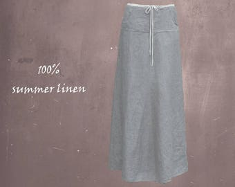 long linen skirt, long wide summer skirt, long beach skirt, chambray linen skirt