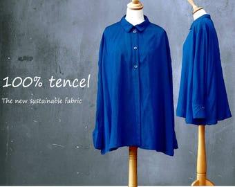 Tencel A-line blouse, tencel shirt