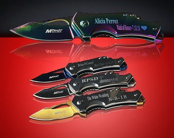 3 Engraved Tactical knifes - 3 Personalized Engraved gifts - 3 Custom Knife with can opener & Belt clip - 3 Groomsman and Usher Gifts