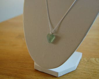 Turquoise Seaglass Necklace with Silver Chain - Newquay, Cornwall