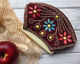 Mini velveteen (cotton velvet) purse/cosmetic bag 70s 80s boho style