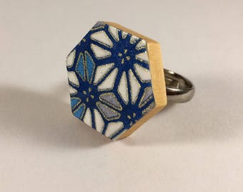 Washi paper blue geometric ring