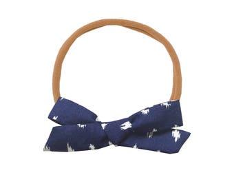 Schoolgirl Bow or Pigtail Set /// Navy Ikat