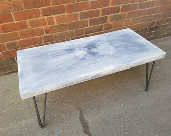 Polished Concrete Coffee Table Made With White Concrete With Black Concrete  Burst. Hair Pin Legs