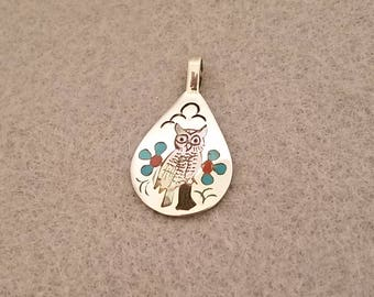 Zuni Inlay Owl Pendant By Sammy & Esther Guardian
