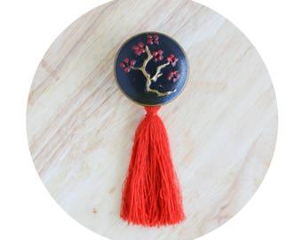 Japanese Style, Black Drawer Knobs, Decorative Knob with Tassel, Wood Cabinet Knobs, Black Red Golden Knob, Drawer pull black,Drawer Handles