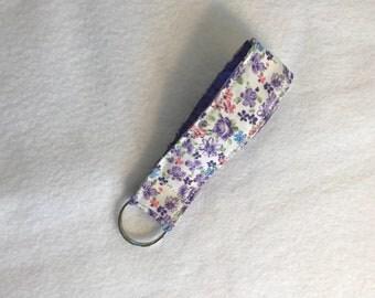 Floral key lanyard. Floral fabric key fob lanyard. Purple floral lanyard