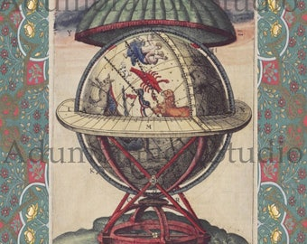 16th Century Armillary Sphere by Tycho Brahe, Archival Print, Globe, Ready for Framing