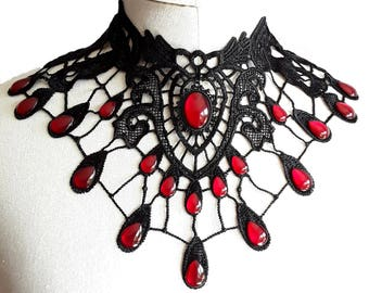 Necklace collar Choker necklace lace black drop metallic Gothic Halloween WGT