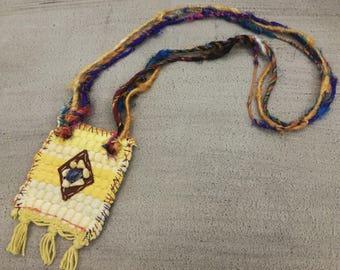 Boho Fabric Necklace/Long Ethnic Pendant/Kourelou, Kilim Necklace/Sari Silk Yarn/Bohemian Pendant/Boho Chic /Statement Necklace/Hippie Style