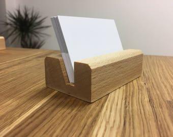 BEECH Wood Business Card Holder - Wood Business Card Holder - Wood Business Card Display - Office Supplies - Walnut - Beech