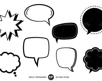50% OFF SALE! Speech Bubble Clip Art, Speech Balloon Clipart, Thought Cloud Clip Art - Commercial Use, Instant Download