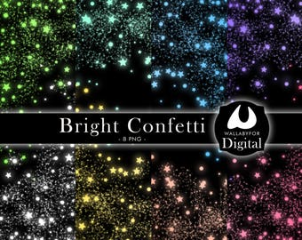Lights clipart Sparkling clipart Confetti clipart Bright clipart Colorful fairy confetti Lights backgrounds Confetti PNG Instant download