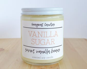 Vanilla Candle, Vanilla Sugar Candle, Vanilla Scented Candle, Scented Soy Candle, Vanilla Scent, Medium Candle, Strong Scented, 8oz Candle
