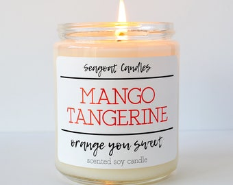 Mango Tangerine Candle, Mango Tangerine Soy Candle, Fruity Candles, Mango Candles, Tangerine Candles, Light Scented Candles, Sweet Candles