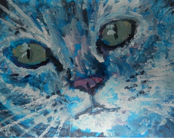 ACEO original cat painting, cat lover gift, blue cat, miniature cat art, cat portrait, cat art, pet cat painting