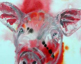Unique pig lover gift, pig print, pig wall art, pig picture, hog print, pig portrait, farmyard print, pig painting, red wall art