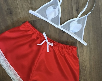 The Juliet Shorts & The Satin Applique Love Heart Bralet