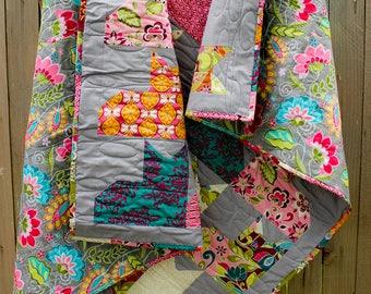 Cat Quilt, Quilted Throw, Lap Quilt, Sofa Quilt, Cat Lover