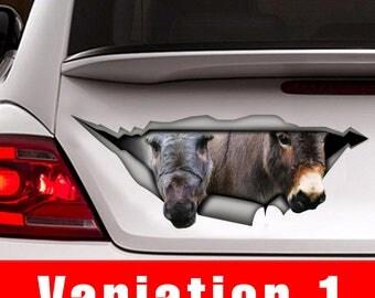 Mini donkey car decal, donkey  sticker, Vinyl decal