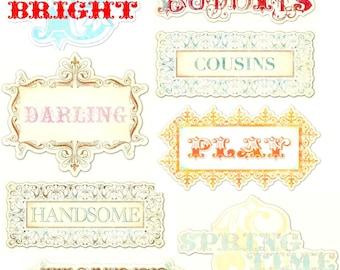 Very pretty My MInd's eye creative cardmaking scrapbooking titles 12 cutouts