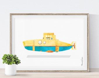 Submarine Print, Yellow Submarine, Nursery Nautical Art, Nursery Art, Kids Wall Decor, Baby Shower Gift, Transportation Wall Art