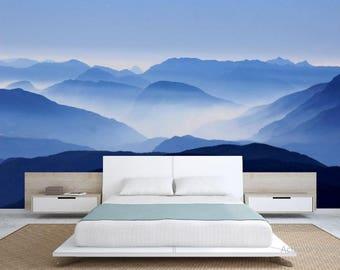 Foggy mountain wallpaper, mountain foggy wall mural, mystic mountain, foggy mural, foggy mountain, foggy mountain wall decal, peel and stick