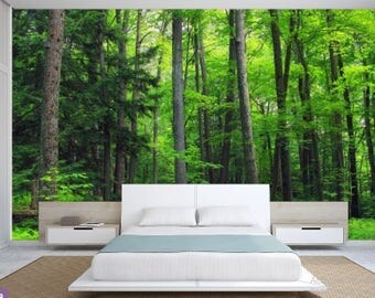 FOREST wallpaper, green tree wall mural, pine tree, peel and stick, pines wall mural, moor wall mural, wallpaper