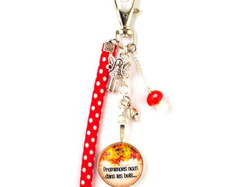 Bag charm - cabochon - deep in the Woods...