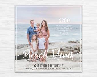 Beach Mini Session Template - Photography Marketing - Photoshop Template [INSTANT DOWNLOAD]
