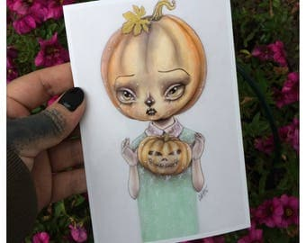 Pumpkin girl in an adorable lowbrow pop surrealism illustration style