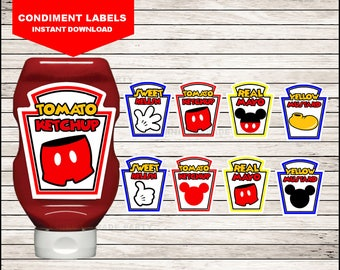 Mickey Mouse Condiments Labels instant download, Printable Mickey Mouse party Condiments Labels, Mickey Condiments Labels