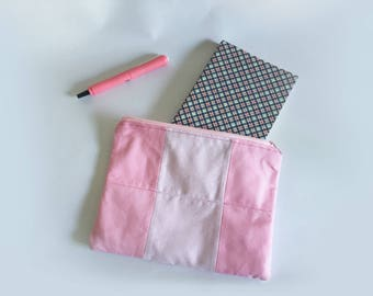 Pink Patchwork Rectangle Zipper Pouch