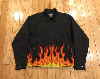 Flaming motorcycle jacket Sickboy motorcycles Fire all over print stitched XL unisex Mint condition wrap around flames Harley Davidson denim
