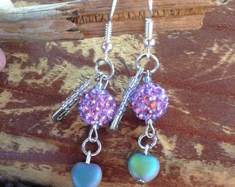 Funky Blingy Safety Pin Dangle Earrings