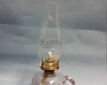 Antique Amethyst Glass Oil Lamp with Shields and Stars Pattern with Chimney